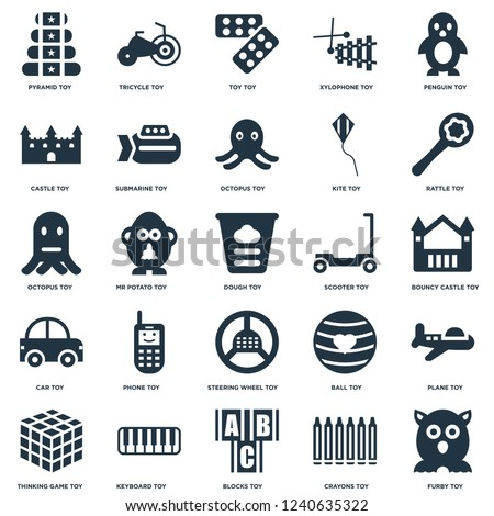 Elements Such As Furby toy, Bouncy castle Rattle Tricycle Thinking game Submarine Ball Octopus toy icon vector illustration on white background. Universal 25 icons set.