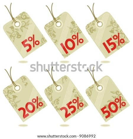 Elements to design hang tags, labels, badges, etc. with various discount amounts and floral patterns