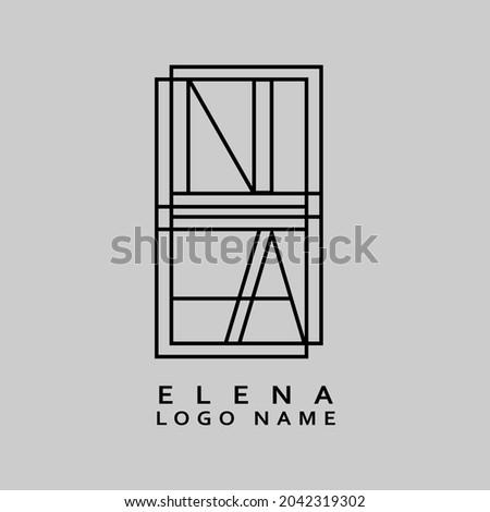 ELENA Logo Name Modern illustration Creative Name logo design Stok fotoğraf ©
