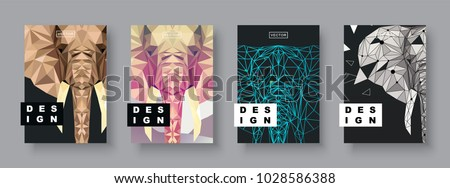 Elephant abstract covers set. Futuristic animal design. Card elephant template. Future Poster template. Concept geometric mammal animal. Polygonal halftone. Elephant face silhouette illustration.