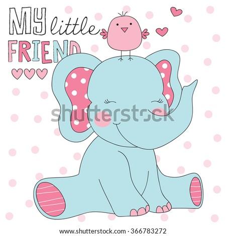 elephant and bird vector
