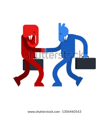 Elephant and Donkey cooperation Handshake conversation. Democrat and Republican truce. Political patriotic friendship. Red and blue armistice