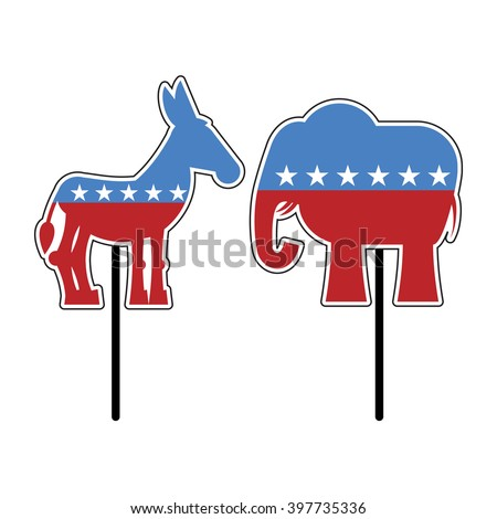 Elephant and donkey. Symbols of Democrats and Republicans. Political parties in United States. Illustration for election, debate America. USA flag