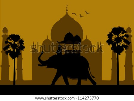 elephant and indian silhouette