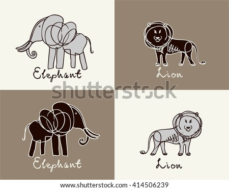 elephant and lion on brown and