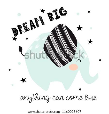 elephant baby cute print dream