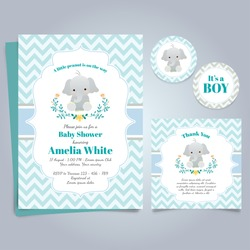 Elephant Baby Shower Theme Invitation Template