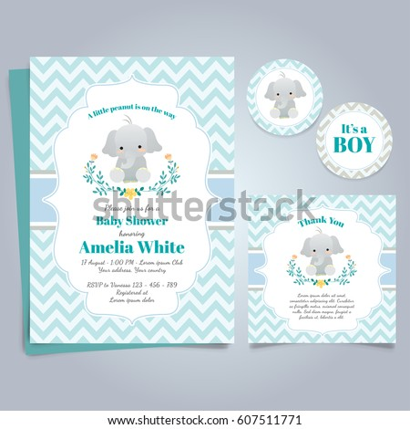 Elephant Baby Shower Theme Invitation Template - Shutterstock ID 607511771