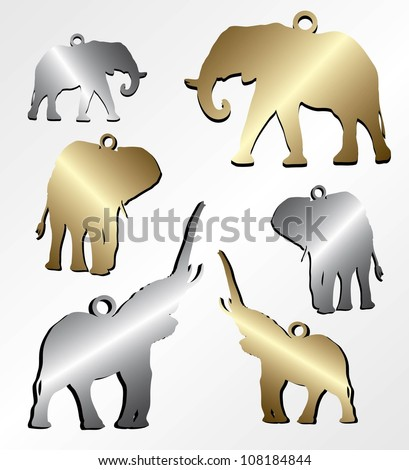 Elephant chain pendant - vector illustration
