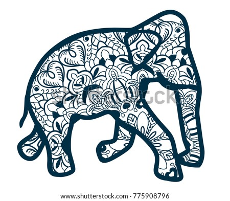 elephant drawn with blue lines