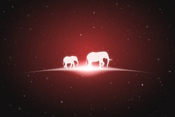 Elephant family walk in space. Vector conceptual illustration with white silhouettes of endangered animals and glowing outline. Surreal red background for greeting cards, posters and other design