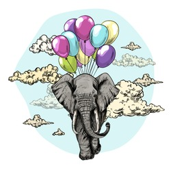 Elephant flying with air balloons in the sky with clouds, hand drawn sketch vector illustration