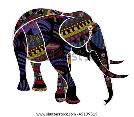 elephant from different elements in the ethnic style
