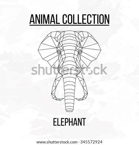 elephant head geometric lines