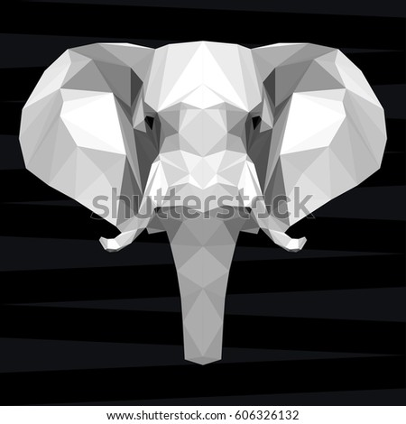 Elephant head. Nature and animals life theme background. Abstract geometric polygonal triangle elephant pattern for design t shirt, card, invitation, poster, banner, placard, billboard cover