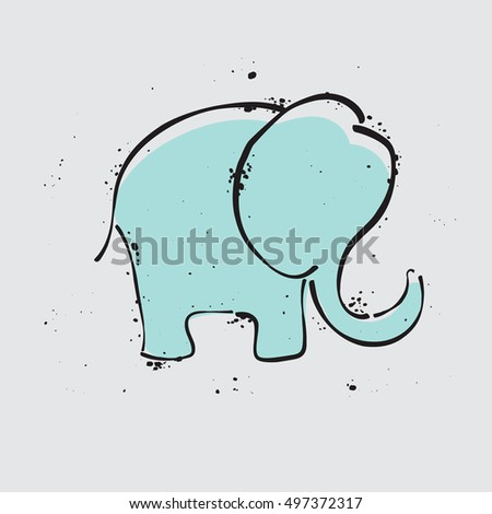 elephant icon. Simple illustration for design and print on a T-shirt. elephant doodle. elephant graphic. elephant vector. elephant symbol. elephant logo. elephant art. elephant design. elephant grunge