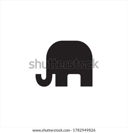 Elephant icon vector illustration. Black  silhouette isolated on white background. Stock fotó ©
