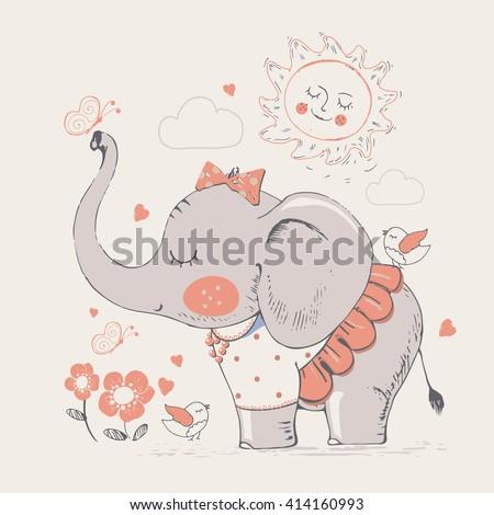 elephant in skirt hand drawn