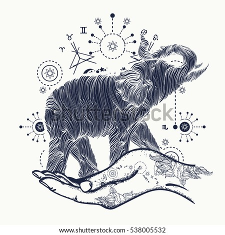 Elephant in the hands tattoo art sacral style t-shirt design. Symbol of meditation, tourism, hipster