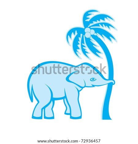 Elephant is pulling out the palm tree