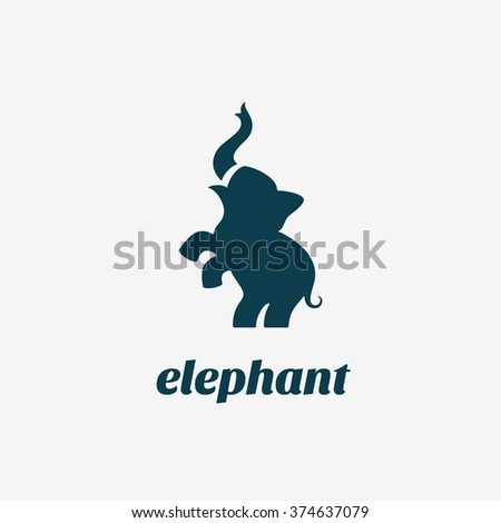 Elephant logo template design. Vector illustration.