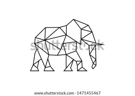 elephant logo wtih line style ready to use stock photo