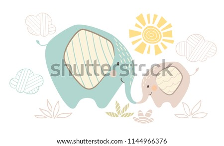 Elephant mom and baby cute print. Sweet animal family. mother and child fashion child vector. Cool scandinavian illustration for nursery t-shirt, kids apparel, invitation, simple children design
