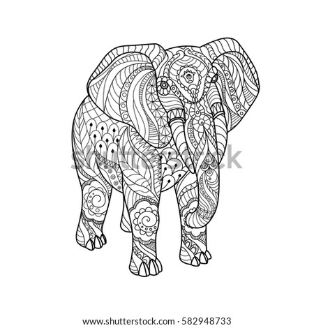 Royalty-free Floral patterned elephant. Hand drawn… #447359923 Stock ...