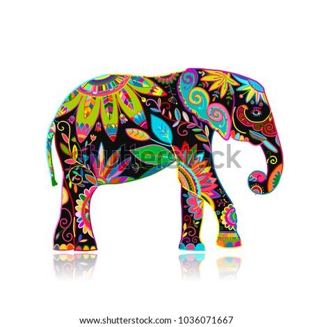 Elephant ornate, sketch for your design