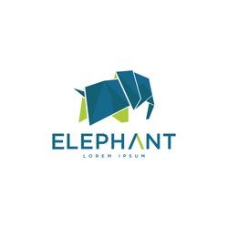 Elephant polygonal origami logo mascot template