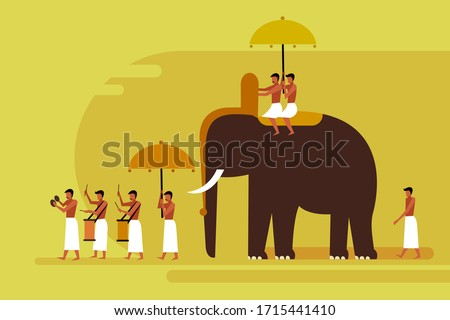 elephant procession with people