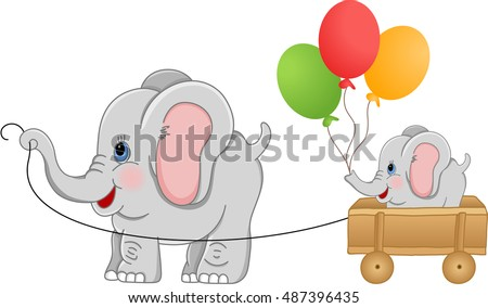elephant pulling wood cart with