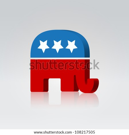 Elephant silhouette american voting campaign illustration