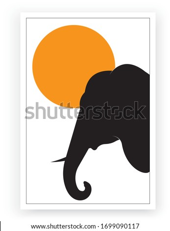elephant silhouette on sunset