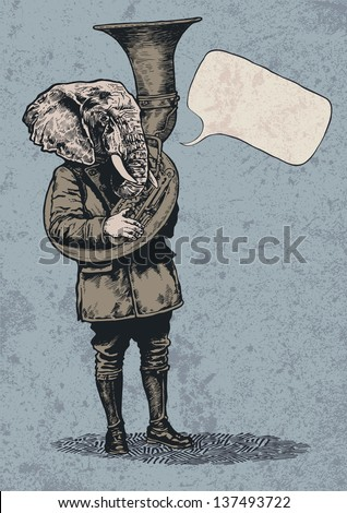 Elephant trumpet, speech bubble and grunge scratched background. vector illustration.