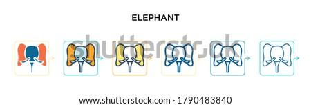 elephant vector icon in 6