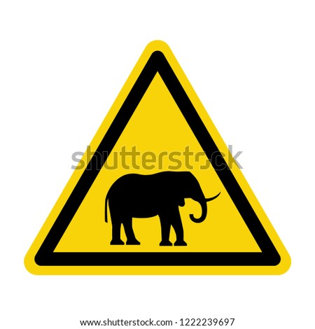 Elephant warning sign. Symbol, vector, illustration