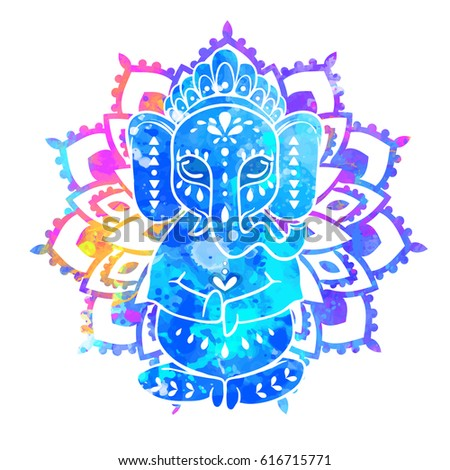 elephant watercolor frame of