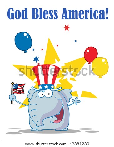 Elephant Waving An American Flag On Independence Day