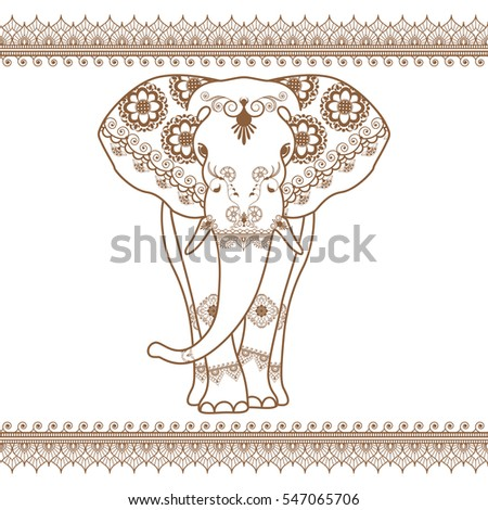 Elephant with border brown elements in ethnic mehndi style. Vector frontal elephant's illustration isolated on white background