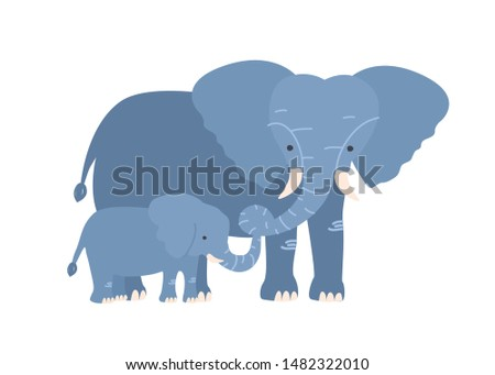 Elephant with calf isolated on white background. Family of wild African savannah herbivorous animals. Adorable parent with child, mom and baby or offspring. Flat cartoon colorful vector illustration. Stockfoto ©