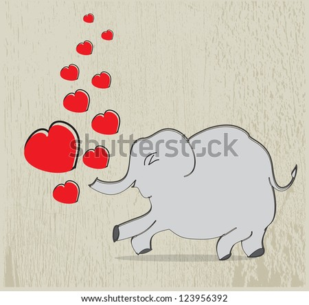 Elephant with hearts on texture background