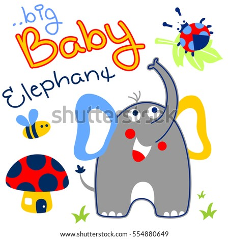 elephant with little friends in