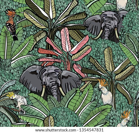 Elephants and Exotic Birds Cockatoo Parrots and Hoopoe in Tropical Jungle Leaves Wildlife Animals in Oriental Asian Forest India Vintage Wallpaper Faded Colors