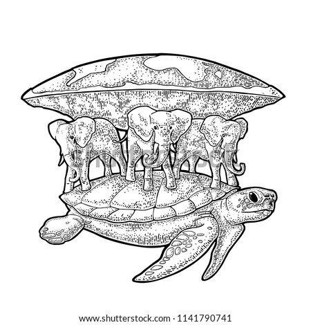 Elephants and turtle holding flat earth. Engraving vintage vector black illustration. Isolated on white background. Hand drawn design element for label and poster