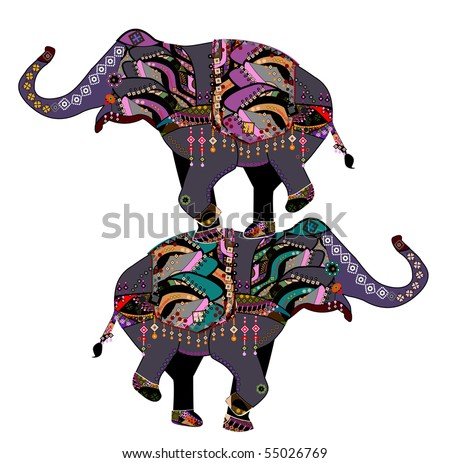 stock vector : Elephants in the ethnic style with a white background