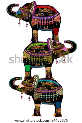 stock vector : elephants is a good ethnic character in different religions