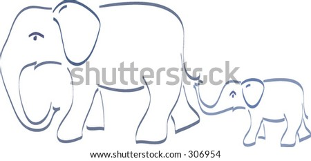 Elephants - mother and baby.