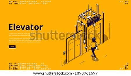 Elevator banner. Modern passenger transportation inside house or office building. Vector landing page of elevator with isometric illustration of woman waiting lift at sliding doors Foto stock ©