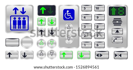 elevator button with braille sign isolated on white, silver metal elevator logo modern, set of elevator button steel symbol with number braille, control panel of elevator internal and braille language